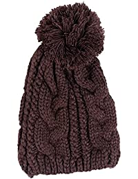 Amurleopard Bonnet tricot a pompon homme femme chapeau unisexe hiver chaud Cafe taille unique