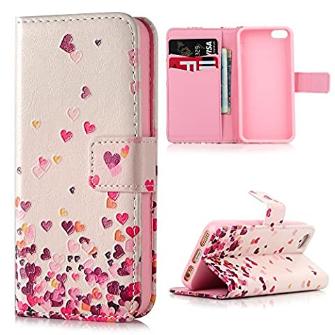 Lanveni iPhone SE 5S 5 Flip Stand Phone Case Cover ,3D Colorful Painting Premium PU Leather Wallet Handset Shell Bookstyle Cellphone Skin Pouch & Magnetic Closure & Card Slots Protective Pocket For iPhone SE & iPhone 5S & iPhone 5 Handphone ,Colorful