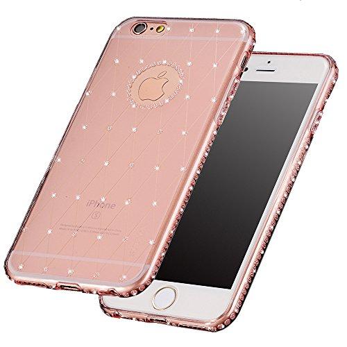 TYoungs Silicone Flessibile Trasparente TPU Bling Diamante Portafoto e indietro Decorazione Case Cover Per iPhone 6 Plus / 6S Plus 5.5