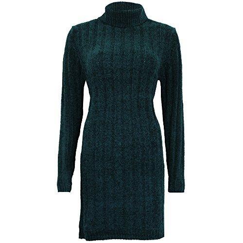 lungo da donna maglione ciniglia MAGLIA Brave Soul Donna Polo tartaruga collo alto NUOVO Verde - 273perrie