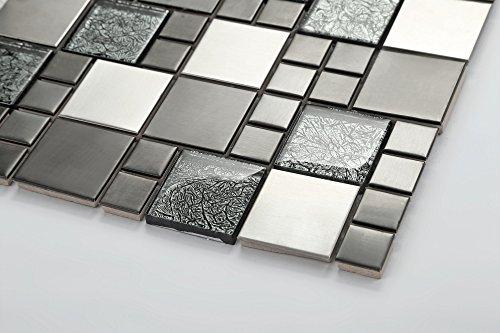 Piastrelle da mosaico in vetro e acciaio inox di colore nero e argento delle dimensioni di 30 - Piastrelle di vetro ...