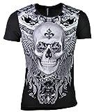 T-Shirt - Totenkopf - Skull - Rose - mit Strass Steinen - in schwarz oder weiß (M, schwarz)