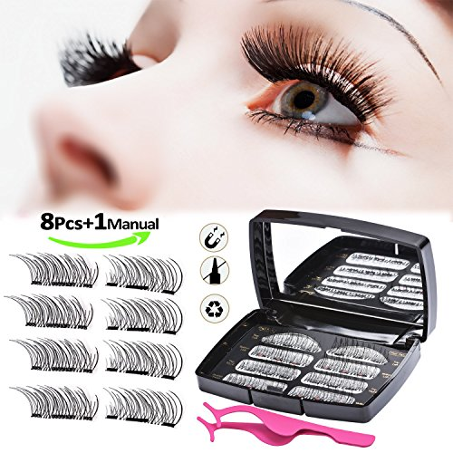 mieres Magnetic Eyelashes, Reusable 3D Full Eye Dual Magnetic False Eyelashes Set, Handmade Soft Fake Lashes Extensions for Natural Look with Tweezers