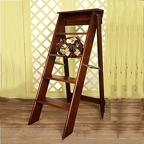 PENGFEI Pliable Stool Ladder Multifonction Usage Double 5 Étapes Bois Massif 3 Couleurs, 34 * 60 * 88CM ( Couleur : Light walnut )