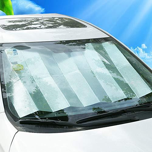 Kaxich Auto Sonnenschutz, Auto Frontscheibe Windschutzscheibe Sonnenblende Autoscheiben UV-Schutz Faltbare Aluminiumfolie Scheibenabdeckung 160 x 70 cm