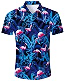 ALISISTER Hawaiihemd Herren Button Down Hawaii Hemd Kurzarm 3D Flamingo Blume Hawaiian Shirts Beiläufige Strand Aloha Partei Regelmäßige Hemden Bunt L
