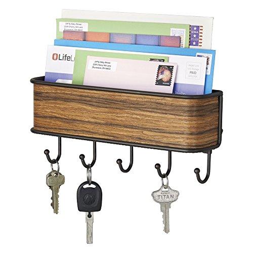 mDesign Schlüsselbrett mit Ablage - vielseitiges Schlüsselboard aus mattem Metall und Palisander-Holz - mit Briefablage für Post oder auch Handys - Schlüsselbrett-organizer