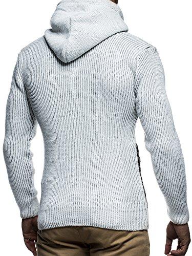 LEIF NELSON LN5145 Veste en tricot pour homme - Beige/Grau