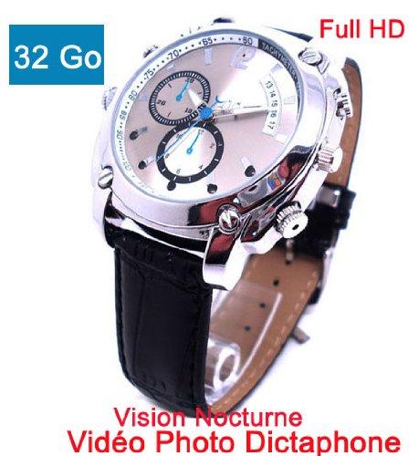 Uhr versteckte Kamera Spion 32 GB Full HD 1920 x 1080p Nachtsicht Modell cuirhd 37BVR32 Full-hd-modell