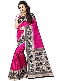 Women's Bhagalpuri Art Silk Traditional Saree Unstitched Blouse Design (BHAGALPURI SAREE 21 RANI_Pink And Black)