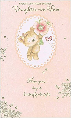 gold-daughter-in-law-birthday-card-bear-with-umbrella-9-x-525-code-2064b