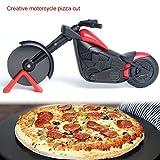 Wildlead lebensmittelecht Motorrad Pizza Cutter Fahrrad Pizzaschneider Edelstahl Kunststoff Motorrad Roller Pizza Chopper Slicer-*Schwarz und Rot*