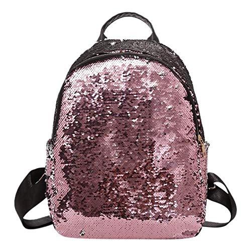 Mochila OneMoreT de lentejuelas para mujer, informal para adolescentes, niñas, mujeres, para ir de viaje, a la escuela, se puede colgar del hombro, rosa