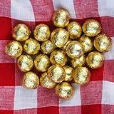 FLAIRELLE, Vollmilch Schokokugeln in Folie, Gold, 400g, zarte Bonbon Kugeln, Schokoperlen Hochzeit oder als Gastgeschenke, Give Aways, Weihnachts-Schokolade