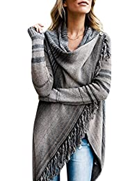 a314ce8070 Womens Tassel Fringed V Front Vintage Plaid Pashmina Shawl Wrap Scarf Knitwear  Tops Cloak Cape Poncho Sweater…
