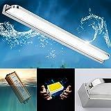 7W LED Spiegelleuchte IP44 Spiegellampe Edelstahl Badlampe Acryl Lampenschirm Badleuchte Bildleuchte Schrankleuchte Wandlampe Wandleuchte, Weiß 6000K, 490 Lumen, L 40cm