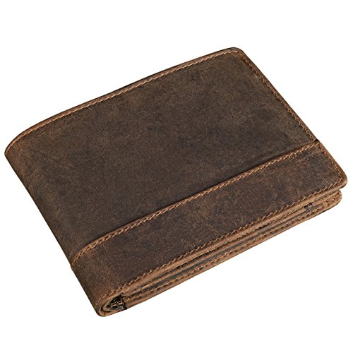 STILORD 'Lucius' Vintage Portemonnaie Leder braun Herren Brieftasche Geldbörse Portmonee Geldbeutel Wallet Echtleder mittelbraun