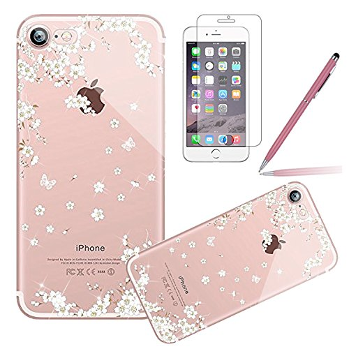 Durchsichtig Huelle für iPhone 5S, Felfy luxus Ultra Slim Bling Shiny Sparkle Diamant Dünnen Apple iPhone 5S 5 Cool Love Heart Muster Weiche Flexible Gel TPU Handy Tasche Back Case Cover Protective Zu Weiß Kirsche CAS