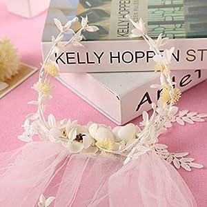 FengJingYuan-ZHUBAO Plastik-Wetthäre-Sweet Style Hochzeits-Schleier Pearl Blattband Haarband Zubehör