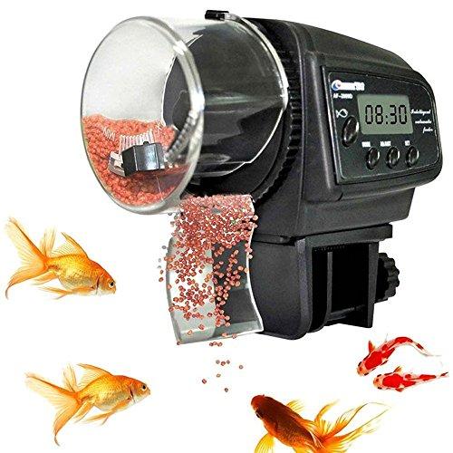 alimentador automático de peces TOPBEST LCD Digital Acuario Fish Feeder Fish Tank Pond Auto Food Timer Feeder Dispensador ajustable, 100 ML de gran capacidad para vacaciones, baterías incluidas