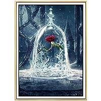 LANDENG La Bella y la Bestia Diamante Pintura, Diamante Bordado Flor Rosa roja Hielo, La Bella y la Bestia, Diamante Pintura Punto de Cruz Decoración de Diamantes de imitación, 70 * 70cm