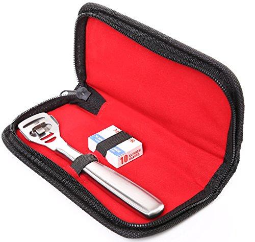 Râpe à pieds en acier inoxydable Anti callosité avec 10 lames Instrument professionnel avec housse