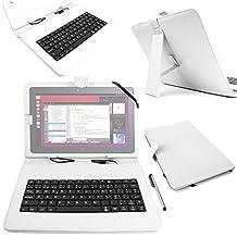 "DURAGADGET Funda / Teclado ESPAÑOL Blanco 10.1 "" Para la tablet BQ Aquaris M10 Ubuntu Edition 10.1"" | HD | Full HD - Conexión MicroUSB + Lápiz Stylus"