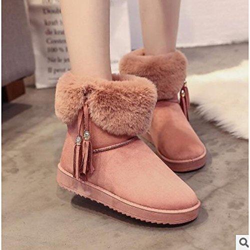 HSXZ Scarpe donna pu Autunno Inverno Comfort stivali Flat Round Toe stivaletti/stivaletti di abbigliamento casual rosa grigio nero Pink