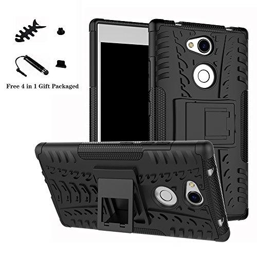 LiuShan Sony L2 Hülle, Dual Layer Hybrid Handyhülle Drop Resistance Handys Schutz Hülle mit Ständer für Sony Xperia L2 Smartphone (mit 4in1 Geschenk verpackt),Schwarz