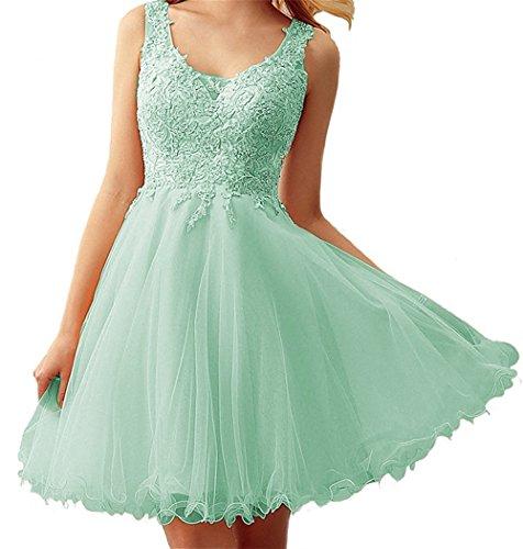 Kurze Abschlussball-partei-kleid (Dresses Onlie Damen Brautjunfer Kleid Kurz Abschlussball Partykleid Abendkleider V-Ausschnitt Cocktailkleid(Minze,32))