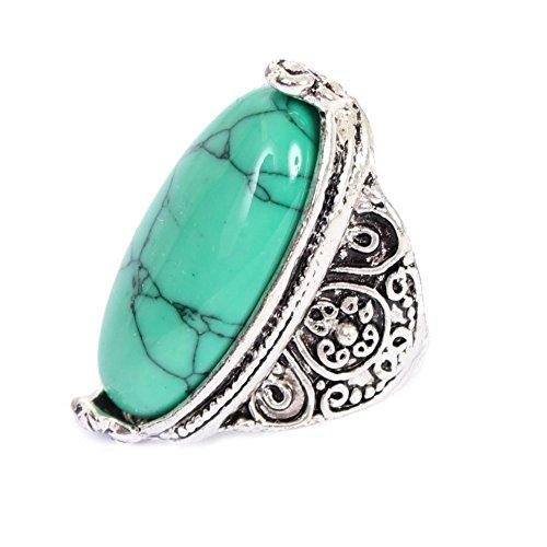 JUSTFOX - Edelstahl Ring großer ovaler Stein Luxus Marmor-Optik 57 = 18,1 mm grün (Mondstein Ring Claddagh)