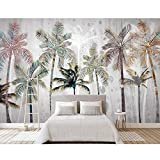 MRQXDP Dipinto a mano di parete di arte della priorità bassa della tela di canapa di arte della parete del rullo 3D della foto della parete della palma nordica Carta da parati