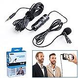 Boya Microfono BY-M1 lavalier a condensatore omnidirezionale con clip da bavero per fotocamera DSLR/smartphone/videocamere/registratori audio-nero