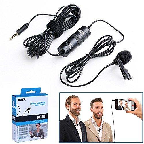 Foto Boya Microfono BY-M1 lavalier a condensatore omnidirezionale con clip da bavero per fotocamera DSLR/smartphone/videocamere/registratori audio-nero
