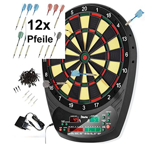ELEKTRONISCHE DARTSCHEIBE Soft Dart LED Dartboard +12 Dartpfeile + 100 Spitzen ~mp 229 G