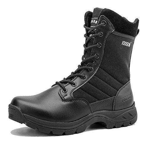 Botas de Combate Militar con Cremallera Lateral, Botas de Combate de Desierto para Hombres (45 EU, Black)