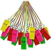 THE TWIDDLERS 60 silbatos de plástico con Cordones de Colores Variados Juguete para Deportes Festivos,