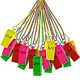 THE TWIDDLERS 60 Stück Kunststoffpfeifen Mit Trillerpfeife in Verschiedenen Farben - Ideal Für Pfeife Sport Partytüten, Füllstoffe, Geburtstags- Und Lootbag