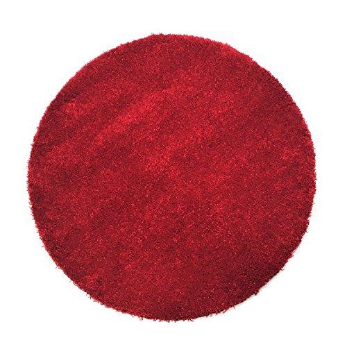 Komfort Shaggy Teppich Badematte Happy Wash rund - waschbar, trocknerund pflegeleicht | schadstoffgeprüft & strapazierfähig | ideal für Bad/Badezimmer, Farbe:Rot, Größe:80 cm rund