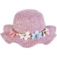 Leisial Enfant Fille Capeline Chapeau de Paille Décoration Florale Chapeau  à Large Bord Anti-Soleil 2a0466d4657