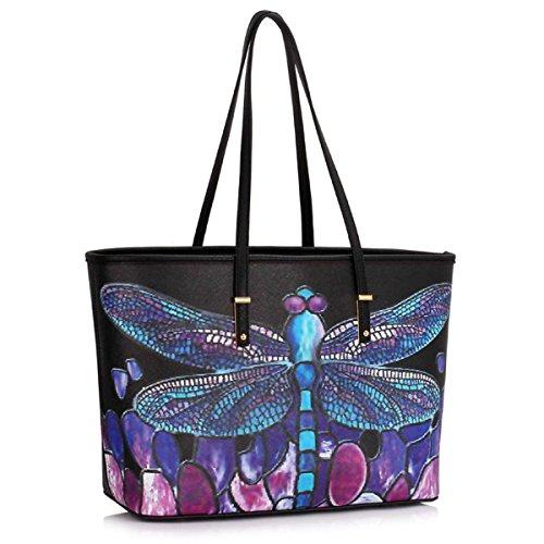 Xardi London, borsa a spalla, da donna, grande, in ecopelle, da viaggio Black Dragonfly