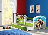 Clamaro 'Fantasia Grün' 160 x 80 Kinderbett Set inkl. Matratze, Lattenrost und mit Bettkasten Schublade, mit verstellbarem Rausfallschutz und Kantenschutzleisten, Design: 03 Verfolgungsjagd
