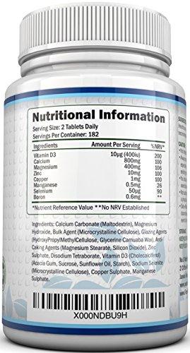 Calcium, Magnesium, Zinc & Vitamin D Supplement – 365 Vegetarian Tablets, 6 Month Supply of the Nu U Nutrition Osteo Supplement