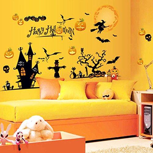en Home Haushalt Zimmer Wandaufkleber Mural Decor Decal Abnehmbar (Schwarz) (Halloween Wandbilder)