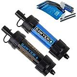Sawyer MINI - Filtre d'eau pour randonnée, accessoire camping, trekking, MINI set de 2 Bleu-Noir, purificateur d'eau de robinet + Sachet  2 x 0.5Litre