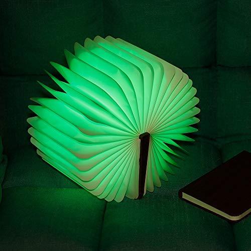 ZXF LED-Klappbuchlicht USB-Aufladung Holznarbenleder Magnetische Nachttischlampe, Die Seite Kreatives Induktionsfarbnachtlicht Dreht Warm (Color : Red) -