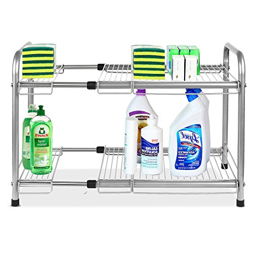 homfa unter Spüle Erweiterbar Schrank Organizer Storage Rack Küche und Bad Mehrzweck Ordentlich Stapeln, Regal 2Etagen -