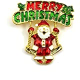 HuaYang Alloy Festival Brooch Pin for Christmas Theme Party Decoration Gift(Pattern A: Santa Claus)