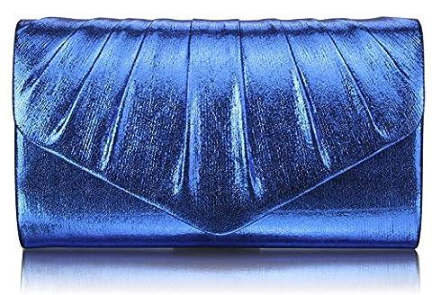 LeahWard Flap Envelop Style Bridal Wedding Clutch Purse Handbags Nice Great Bags 282 (Blue L Metallic Clutch