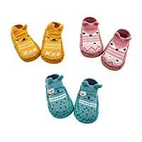 Z-Chen 3 Pairs of Baby Boys Girls Indoor Slippers Anti-Slip Socks Shoes, Yellow + Pink + Blue, 12-18 Months